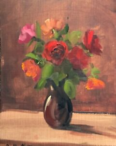 A4 Print of Original oil painting art floral red roses in a vase vintage style