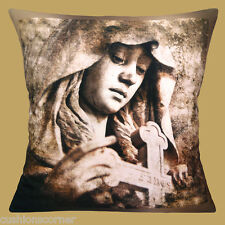 Statue From Staglieno Cemetery Cushion Cover 16x16 inch 40cm Sepia Photo Print