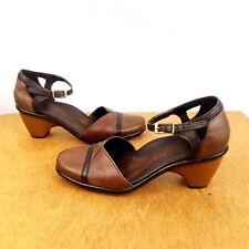 DANSKO  Brown Leather Heel Pump Ankle Strap Mary Jane Size 36 US 6.5- 7 Career