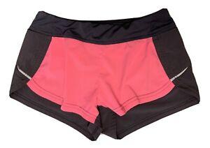 Athleta Girls M 8 10 Pink Dark Gray Athletic running shorts Zip Pocket Medium