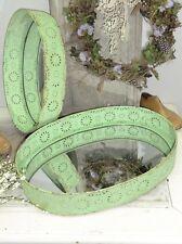 Spiegeltablett grün wunderschön! oval gross Metall Tablett Landhaus Shabby Chic