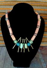 Antique handmade,Trade Bead necklace Turquoise, Bauxite,glass beads brass-alloy