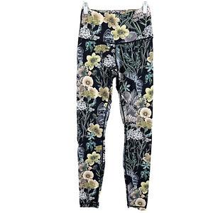 Playground High Rise Full Length Leggings Margaux Black Floral Flowers XS