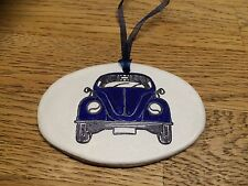 Beautiful Handmade Clay Hanging Dark Blue VW Beetle Decoration/gift Tag New
