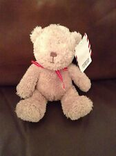 Mamas and papas Brown Beige Teddy Bear baby Soft Toy Red Ribbon comforter M&P