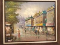 Art OIL On Canvas Painting MORGAN Signed Original Framed City Scape