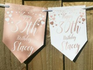 Personalised Rose Gold Birthday bunting banner 18th 21st 30th any age