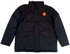 New Mens Manchester United Official Black Winter Warm Hooded Jacket Size XL