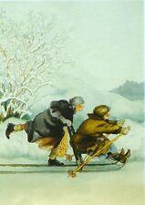 Postcard Art Two Old Ladies Friends Sisters Winter Snow Sled Inge Look Finland