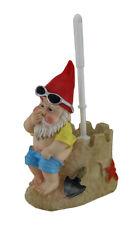 Zeckos Beach Gnome On Sandcastle Throne Toilet Brush and Holder Set