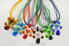 FREE Wholesale Lot 6X Colourful Animal Turtle Handmade Glass Pendants Necklace