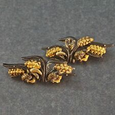 Antique Shakudo Menuki Samurai Sword Birds, Silver, Gold & Copper Pin Brooches