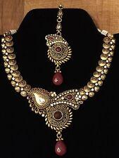Indian Pakistani Ethnic Antique Polki Red Necklace Pendant Earring With Mangtika