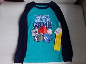 Boys Basketball Sports Wake Me For the Game Long Sleeve Pajama Shirt Size 5 5T