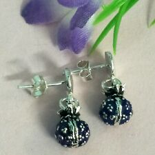 Blue Color Ball Solid Sterling Silver 925 Earrings Fastening Butterfly For Women