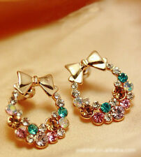 New Fashion Rhinestone Multicolor Crystal Bow Flower Stud Earrings Women Girls