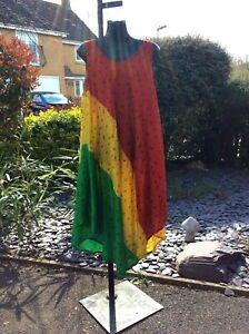JAMAICAN RASTA COLOUR PRINT, MAXI SMOCK DRESS, ONE SIZE.....12-16