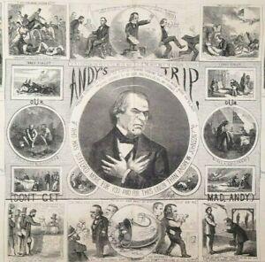 Andrew Johnson Political Cartoons Discharge of Duties 1866 Antique Print