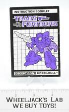 Horri-Bull Action Figure Instruction Manual Booklet 1988 Hasbro G1 Transformers