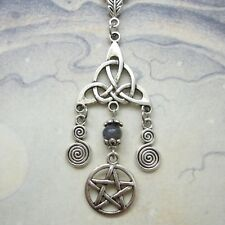 Celtic Knot Pentacle Necklace - Spiral Pentagram Wicca Pagan Pendant Larvikite