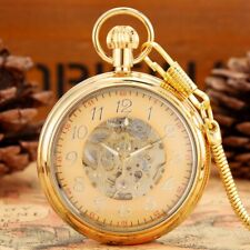 Bronze Unisex Automatic Mechanical Pocket Watch Pendant Chain Luminous Hands