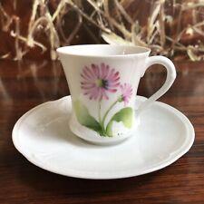 Porcelaine de Paris,  Le Chambrelain - edle Mokkatasse,  Blume Rosa handgemalt