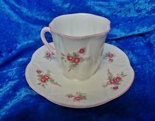 Vintage Shelley Bone China Rose Spray Dainty Coffee Demitasse Cup Saucer England