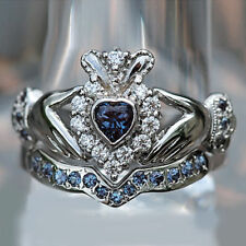 Heart Shape 14K White Gold Over  Sapphire & Diamond Bridal Set Claddagh Ring New