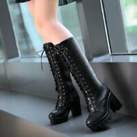 Womens Platform High Block Heel Punk Gothic Lace Up Goth Knee High Boots Shoes#