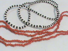 2 old Glass Bead Necklaces Black& White and Red
