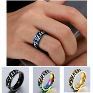 1pcs Stainless Steel Ring Spin Chain Men Style You Pick Ring Size 7-13 Jewelry