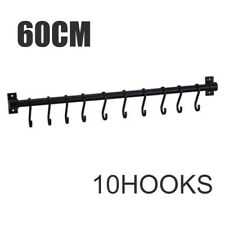 Kitchen Cupboard Wall Mounted 10 Hooks Tool Utensils Holder Hanging Rail Rack