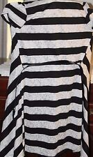 3 Hearts long sleeveless light striped belted sweater BW & silver M lacy pattern
