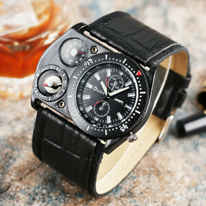 Oulm Mens Compass Deco Military Leather Band Sport Quartz Wrist Watch BIG Dial