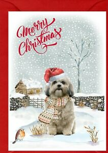 "Shih Tzu Dog A6 (4"" x 6"") Christmas Card - Blank inside - Design by Starprint"