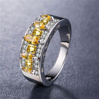 925 Silver Jewelry Marquise Cut Citrine Gorgeous Women Wedding Ring Size 6-10