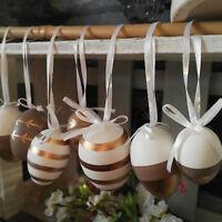 12 x Plastikeier Weiß Gold Braun Metallic Plastik Eier Hängen Ringel Ostereier