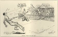 "VINTAGE 1928 PUNCH CARTOON - TENNIS HUMOR ""Let it go, you Ass!"" OUT OF BOUNDS"