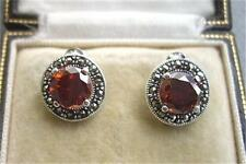 Deco Inspired Garnet CZ, Marcasite & Silver Stud Earrings