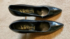 Gorgeous Vintage Black Leather Pointy Toe High Heel Court Shoes 9/43