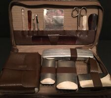 Vintage Men's Travel Grooming Kit Leather Case 12 Piece Collectible RARE