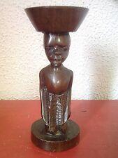 ANCIEN BOUGEOIR ART AFRICAIN du MALI 1980 une femme en tres beau bois