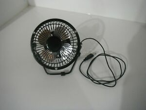 Mini Black Desk Fan with attached 4ft. USB Cord Excellent Used Condition