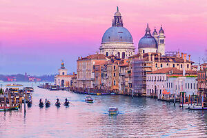 STUNNING VENICE GRAND CANAL SUNSET CANVAS #434 ITALY VENICE PICTURE WALL ART
