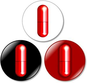 3 x Red Pill Matrix 32mm BUTTON PIN BADGES Truth Pill Neo Morphius Trinity Movie
