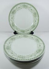 6 Colonial Pottery BLENHEIM Dinner Plates Stoke England Green Floral 376854