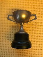 Vintage Pewter Trophy Cup On Stand