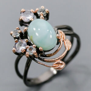 Women jewelry Design Larimar Ring Silver 925 Sterling  Size 7.75 /R152098