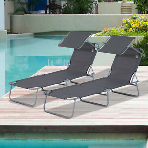 Outsunny 2PC Sun Lounger Canopy Reclining Chair Outdoor Patio Garden Chaise Set