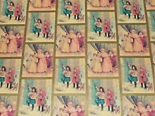 Vtg Christmas Wrapping Paper Gift Wrap 2 Yards Victorian Postcards Children Cute